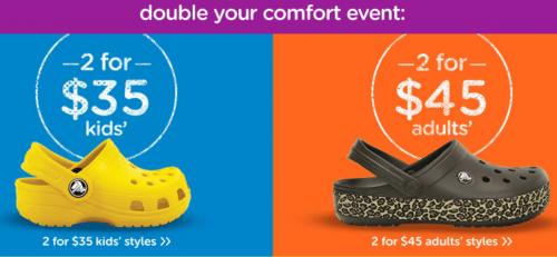 Crocs Canada Double Your Comfort Sale
