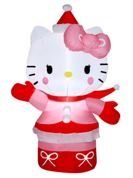 hello kitty fans will love decorating their lawn with this airblown outdoor hello kitty in winter outfit from walmart originally sold for 29