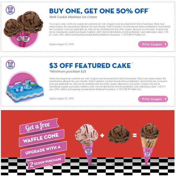 Baskin robbins coupons canada : Blender cups