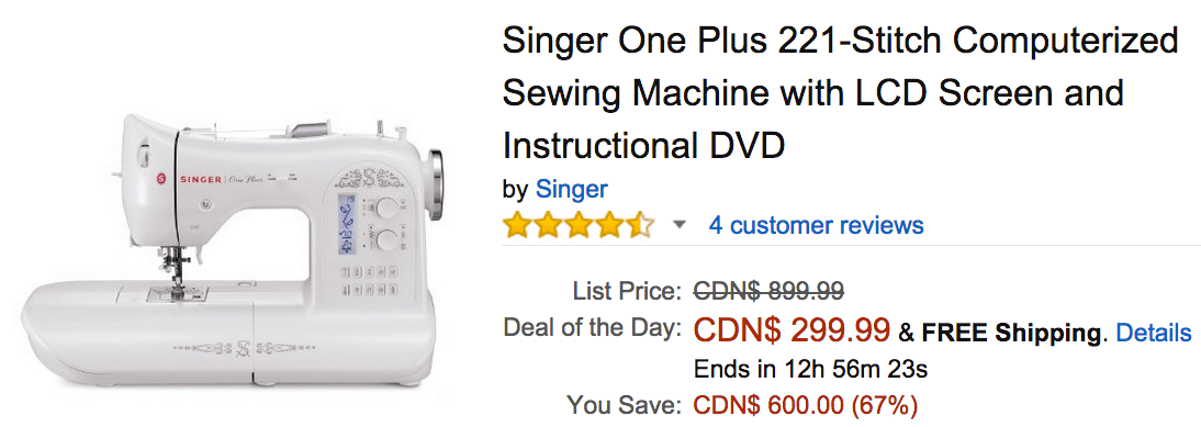 Amazon Canada Deals Of The Day Save 40% On Singer One Plus 40 New Singer One Plus Sewing Machine