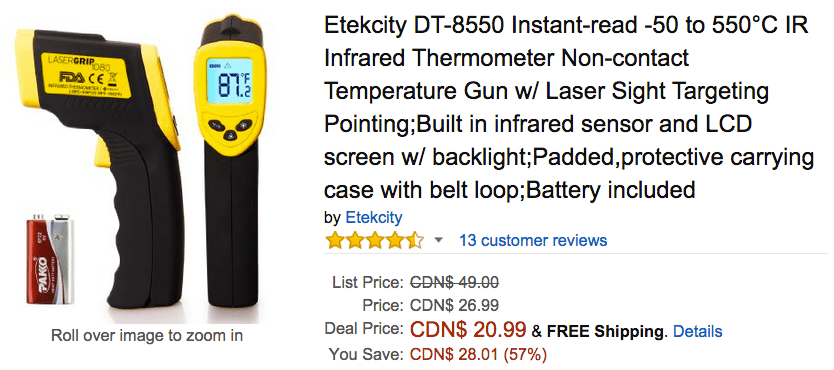 Amazon Canada Today's Offers: Save 57% On Etekcity Instant-read -50