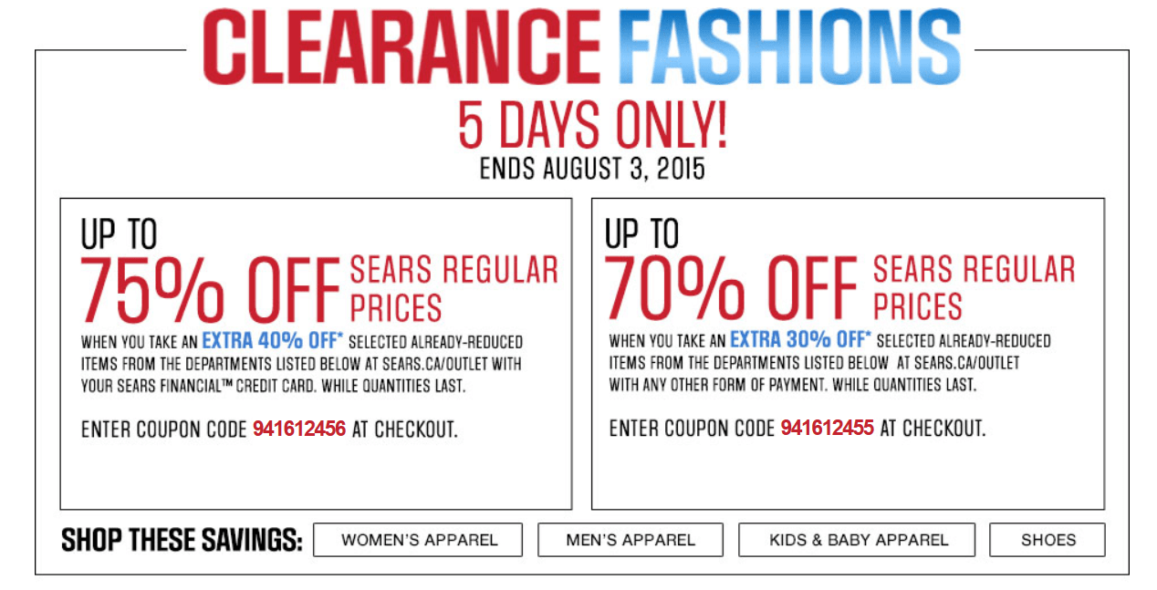 Sears Canada Coupon Code Deals: Save Up to an Additional ...