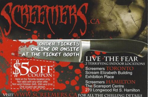 Screemers toronto discount coupon