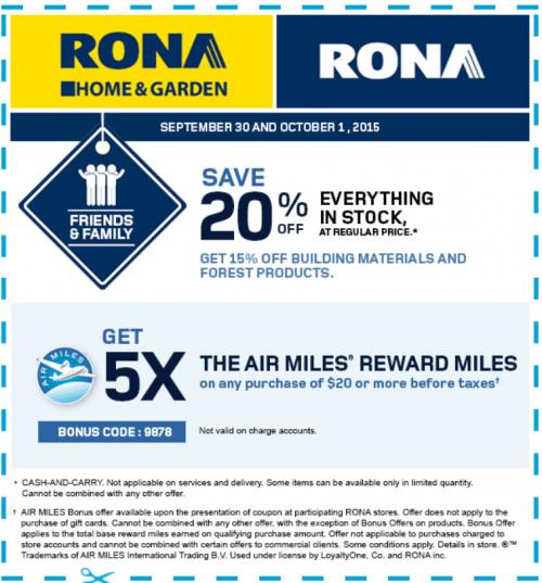 Rona discount coupons