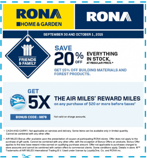 rona air mile coupons