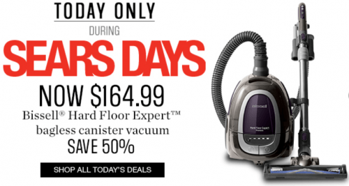 sears canada one day flash online sale: save 50% off bissell hard