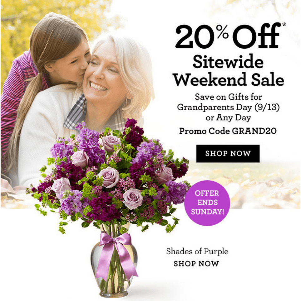 For flowers Canada we currently have 0 coupons and 0 deals. Our users can save with our coupons on average about $ Todays best offer is. If you can't find a coupon or a deal for you product then sign up for alerts and you will get updates on every new coupon added for flowers Canada.