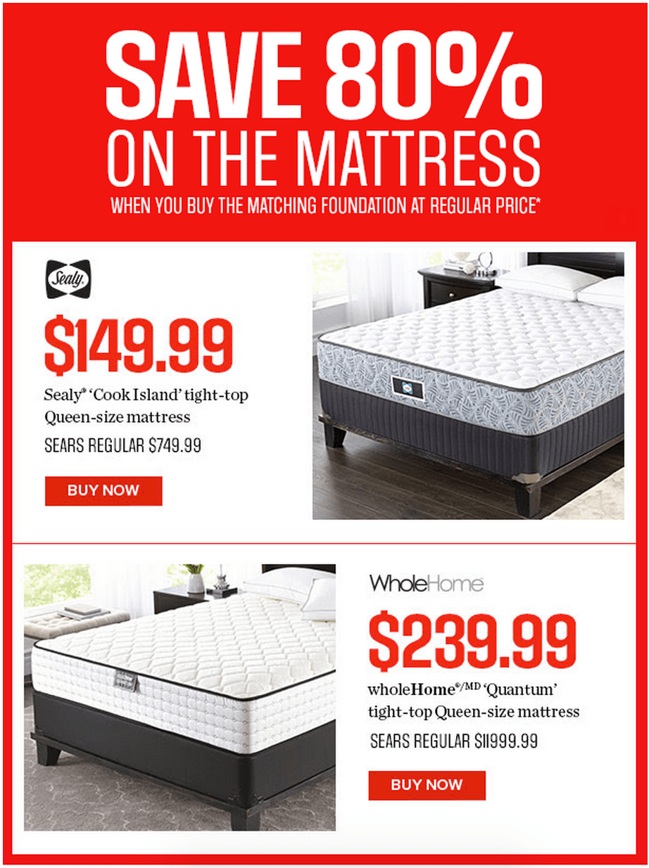 Sears Canada Offers Save 80 On Selected Mattresses By