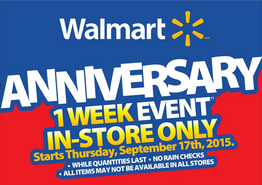 Walmart canada anniversary sale september canadian