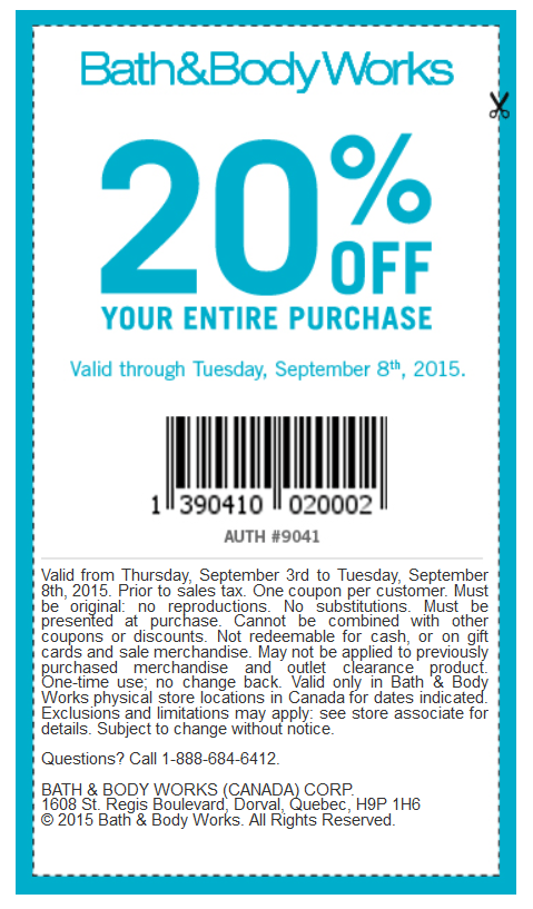 Bath & Body Works Canada Labour Day Coupon Plus Deals ...