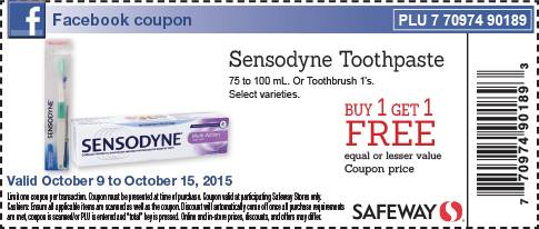 photograph relating to Sensodyne Printable Coupon identify Safeway Canada Fb Coupon: Obtain A person Purchase 1 Totally free