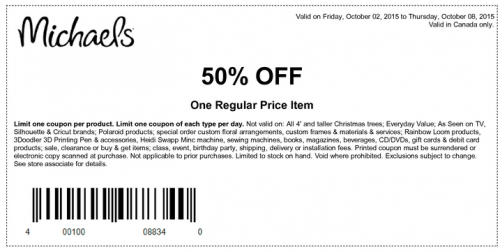 Michaels arts crafts canada thanksgiving coupons save for Coupons michaels arts and crafts