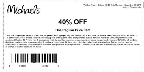 Michaels arts & crafts coupons