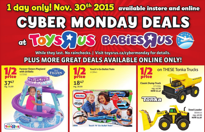 toys r us cyber monday 2015 flyer sneak peek deals canadian freebies coupons deals. Black Bedroom Furniture Sets. Home Design Ideas