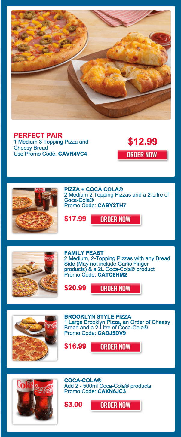 Domino\'s Pizza Canada Scary Good Deals: Get 1 Medium 3 Topping Pizza ...