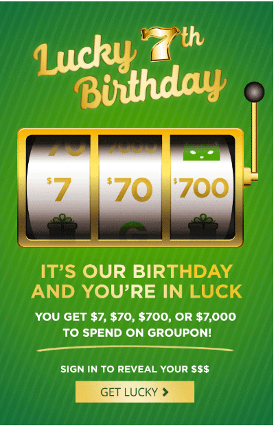 Groupon Canada 7th Birthday Promotion: Win $7, $70, $700 or $7,000 to Spend on Groupon, Today