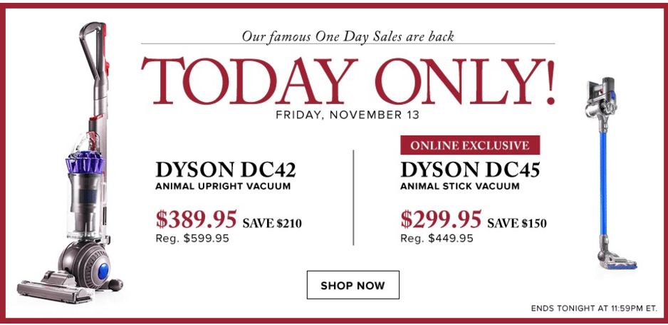 Hudson's Bay Canada One Day Flash Sale: Save 35% On Dyson DC42 Animal Vacuum with FREE Shipping