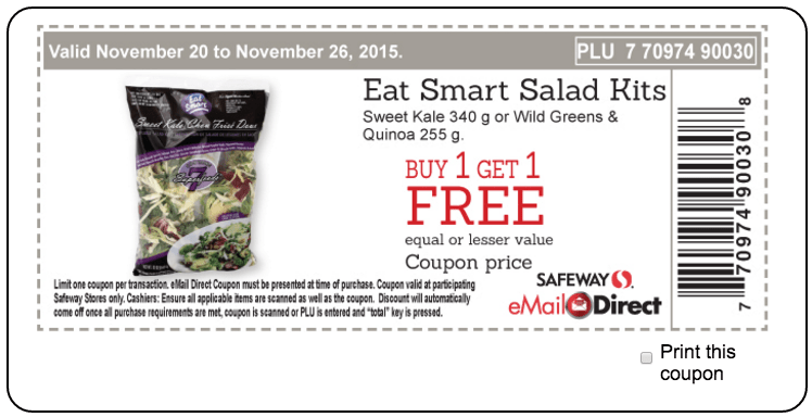 image about Safeway Printable Coupons named Safeway Canada Printable Discount codes: Take in Sensible Salad Kits Invest in 1