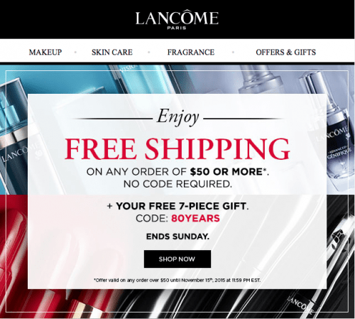 Name brand beauty products aren't cheap, but we always have current Lancome coupon codes, printable coupons and deals that get you 20% off, a free gift with purchase, free shipping, and more offers to get you the best discount possible on all your beauty needs.
