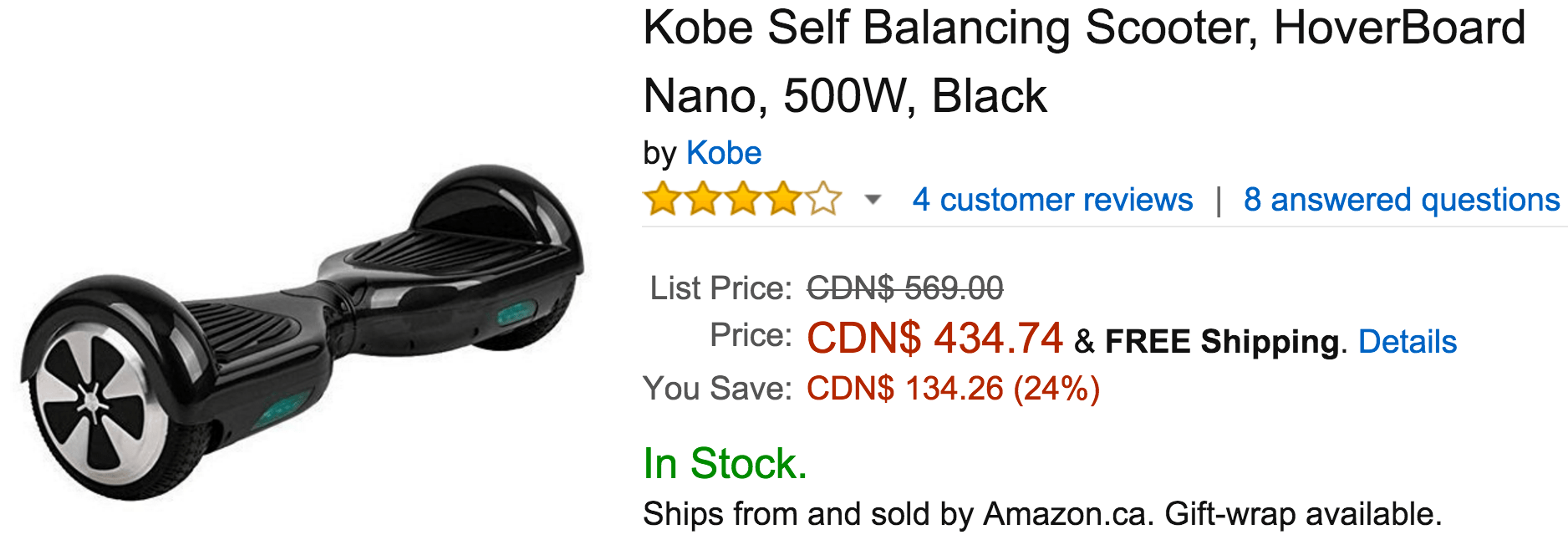 amazon canada offers save 24 on kobe self balancing scooter hoverboard nano 500w black. Black Bedroom Furniture Sets. Home Design Ideas