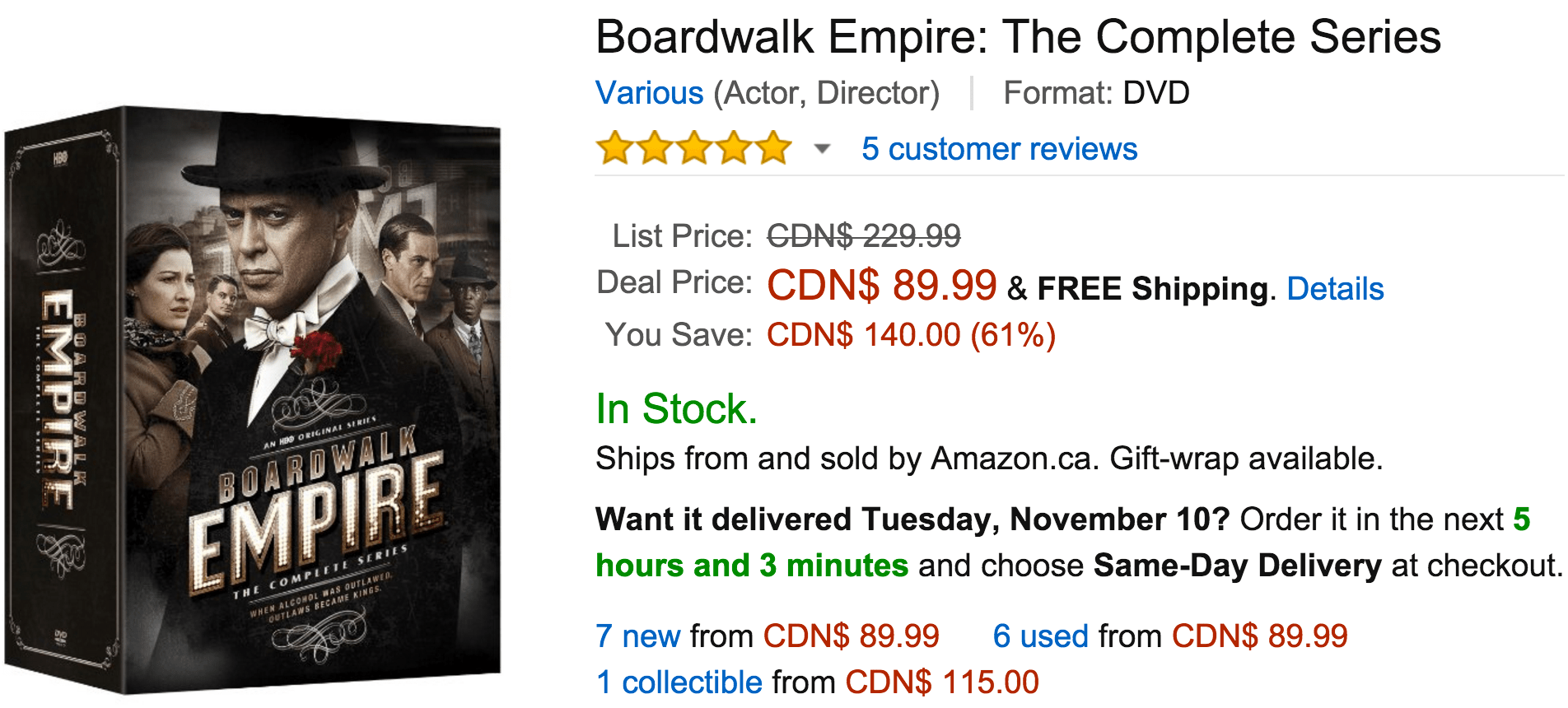 amazon canada black friday deals of the day save 61 on boardwalk empire the complete series. Black Bedroom Furniture Sets. Home Design Ideas