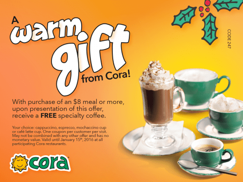 cora breakfast and lunch holiday offers  free specialty