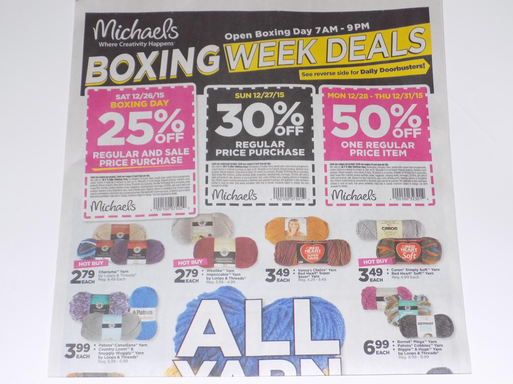 We have an exclusive sneak peek of the upcoming michaels canada boxing day flyer make your own sale with the following coupons