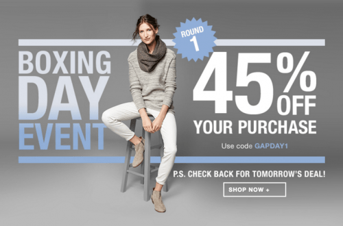 Gap Canada Boxing Day 2015 Sale