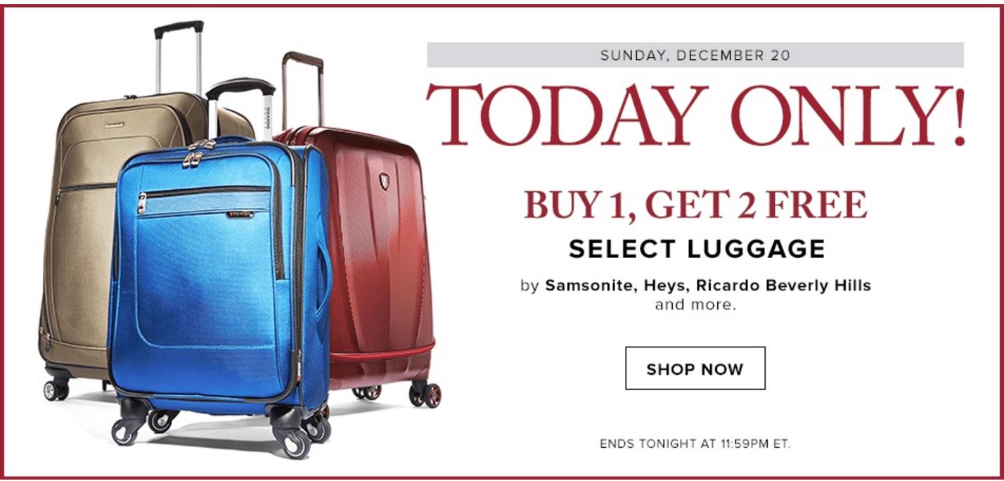 hudson s bay canada christmas deals buy 1 get 2 free select luggage by samsonite heys. Black Bedroom Furniture Sets. Home Design Ideas