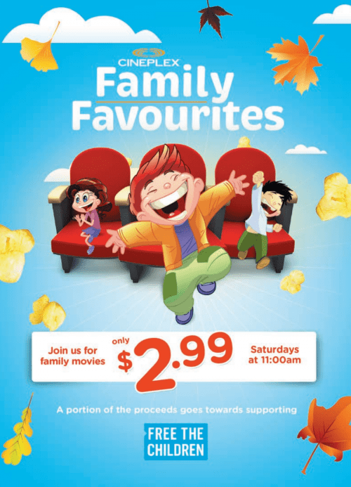 Saturday mornings Cineplex Family Favourites Offers
