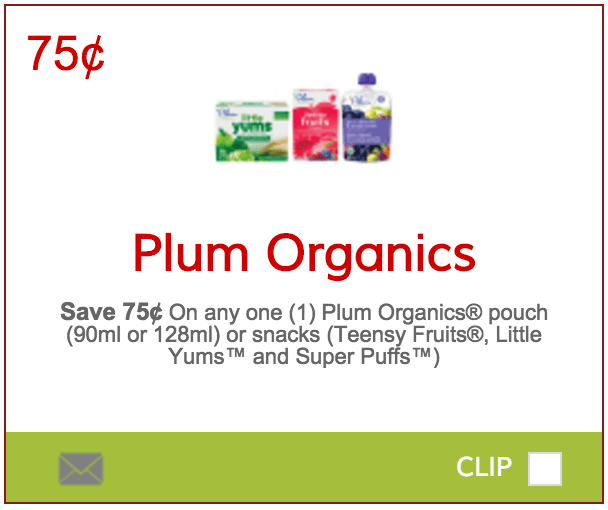 photograph regarding Plum Organics Printable Coupon named SmartSource.ca Discount codes: Preserve 75¢ Upon Any A single Plum Organics