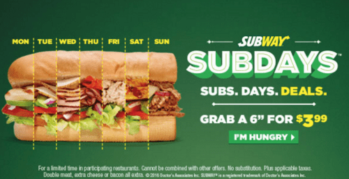 Subway daily sub deals