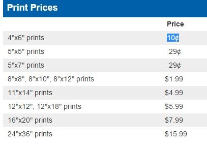 costco photo center prices canada