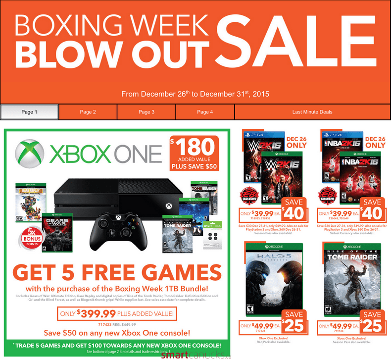 Eb Games Canada Boxing Day Deals Xbox And Ps4 Bundles