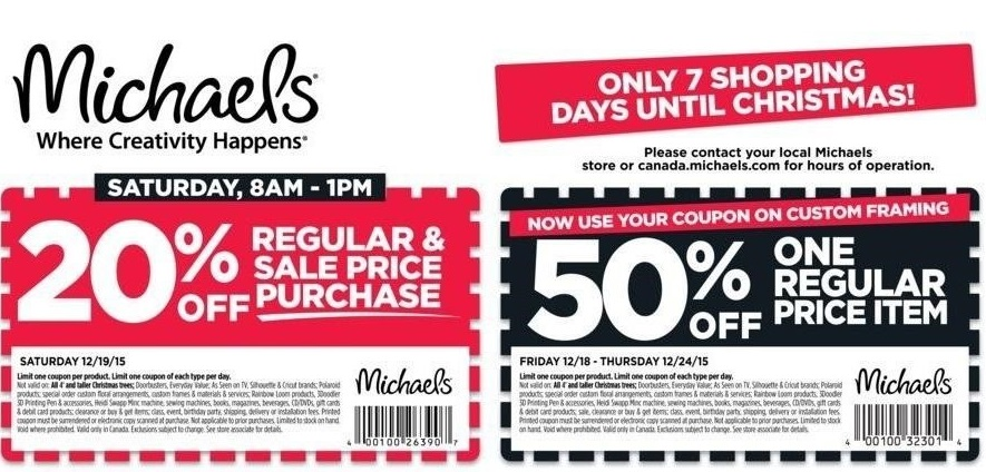 Michaels Canada Weekly Coupons & Christmas Deals: Save 50% Off One
