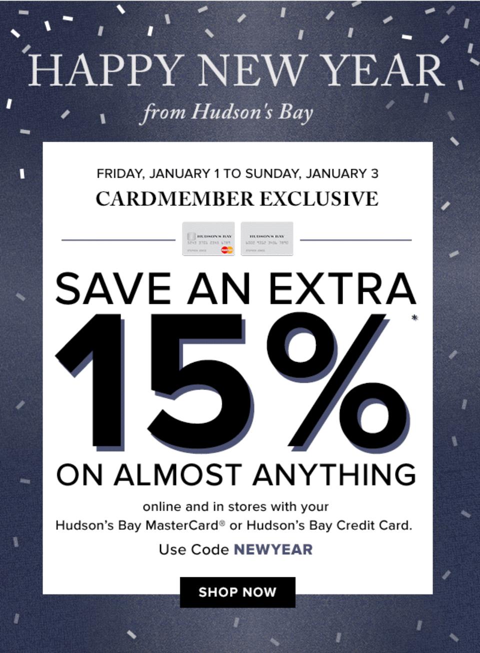 Hudson bay discount coupon