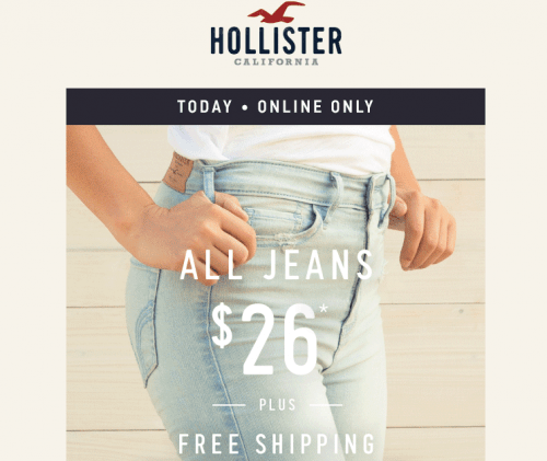 Hollister is the fantasy of Southern California, with clothing that's effortlessly cool and totally accessible. Shop jeans, t-shirts, dresses, jackets and more. For orders containing only Gift Cards, standard shipping cost is FREE. Gift Cards are shipped separately .