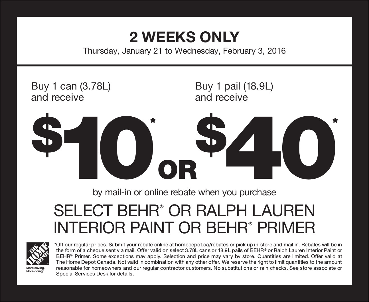 Home Depot Canada Paint Rebate Offer: Buy 1 Can (3.78L) and ...