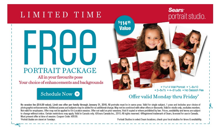 Sears portrait coupons in store