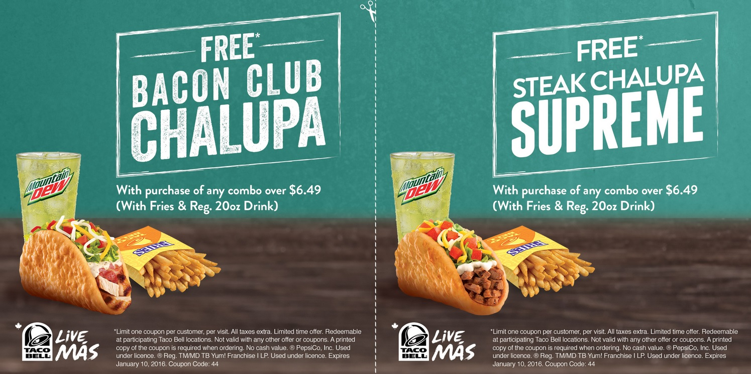 graphic relating to Taco Bell Coupons Printable named Free of charge Taco Bell Canada Bacon Club Chalupa Currently *Very hot