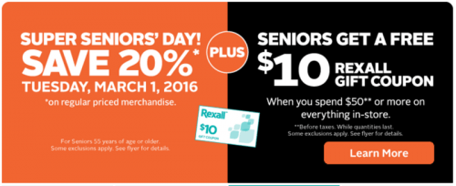 Rexall PharmaPlus Canada Senior's Day Deals