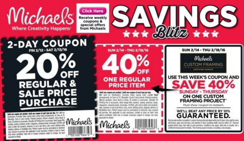 Michaels canada weekly coupons save 40 off 1 regular for Coupons michaels arts and crafts
