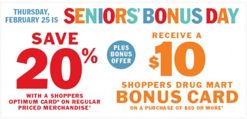 Shoppers Drug Mart Canada Seniors' Bonus Day
