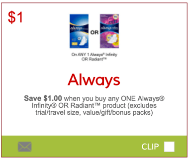Always coupons canada