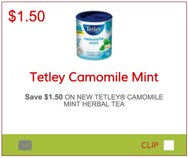 SmartSource.ca Coupons Save $1.5 Off Tetley Camomile Mint Tea