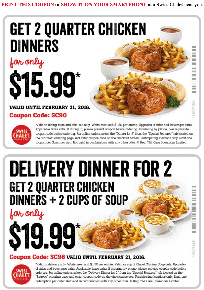 swiss chalet deals The restaurant chain offers incredible value for your money, with generous portions and a steady flow of amazing deals. From the popular Swiss Chalet