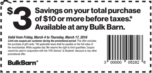 Bulk Barn Save $3 Off Any $10 Purchase Coupon