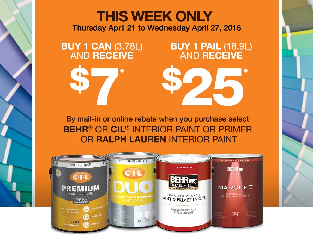 Free Behr Stain After Rebate At Home Depot More: Home Depot Canada Offer: Receive Up To $25 By Mail-In
