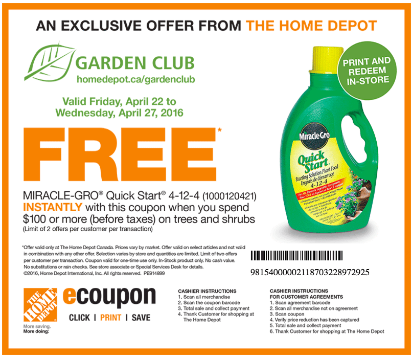 The Home Depot Garden Club Coupons Get A Free Miracle Gro