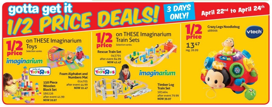 Shop All Deals! Shop All 1/2 Price Deals! Save up to 1/2 Price on Figures and Playsets Save up to 1/2 Price on Dolls and Playsets Shop all LEGO on SALE 2 for $20 on ALL $ Funko Items Save up to 1/2 Price on Preschool Pals and Playsets Clearance - while they last! Only @ Toys R Us! Gifts under $20 Gifts under $50 Gifts under $